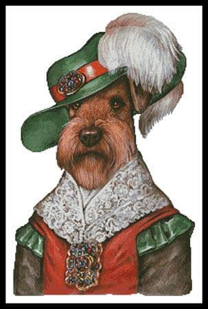 Airedale Musketeer by Artecy printed cross stitch chart